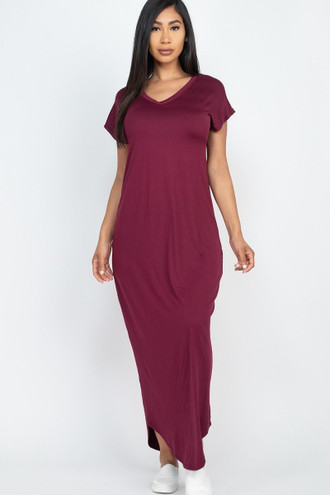 Solid Short Sleeve V-Neck Maxi Dress