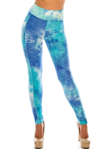 Premium Gorgeous Blue Tie Dye Scrunch Butt Workout Leggings with Side Pockets