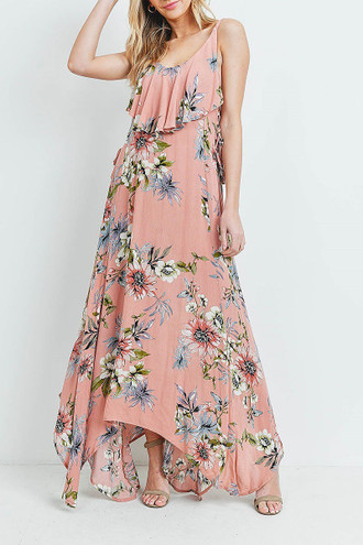 Blush Floral  Flounce Asymmetrical Hem Maxi Dress with Crisscross Back