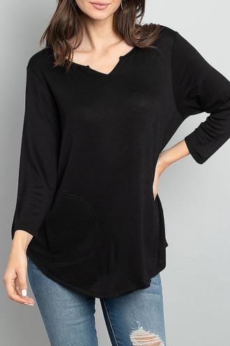 Black Split Neck Round Hem Long Sleeve Tunic with Pockets