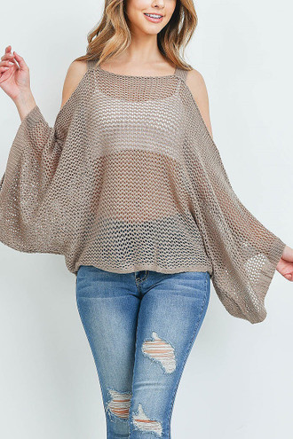 Mocha Crochet Wide Sleeve Cold Shoulder Top