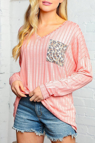 Peach Leopard Accent Pocket Long Sleeve V-Neck Rib Knit Top
