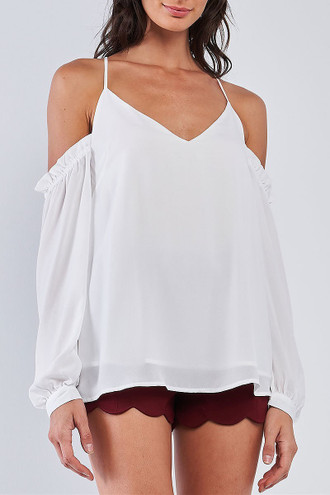 White Off the Shoulder Bubble Sleeve V-Neck Top