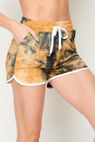 Buttery Soft Camel Tie Dye Drawstring Waist Dolphin Shorts with Pockets