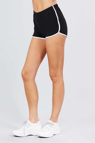 Black Basic Cotton Side Stripe Dolphin Shorts