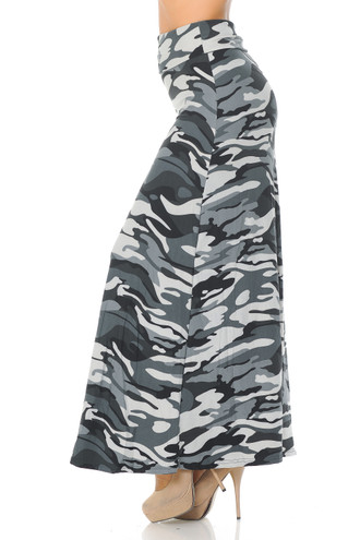 Charcoal Camouflage Plus Size Buttery Soft Maxi Skirt