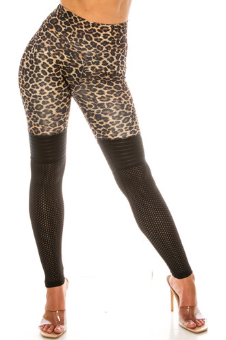 Split Leopard Perforated Mesh High Waisted Sport Scrunch Leggings