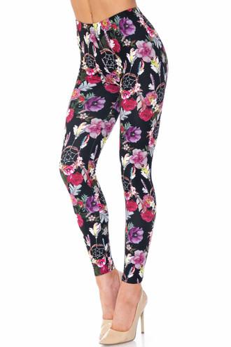 Creamy Soft Floral Dreamcatcher Plus Size Leggings - USA Fashion™