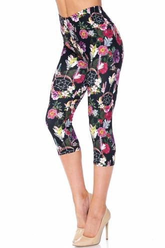Creamy Soft Floral Dreamcatcher Plus Size Capris - USA Fashion™