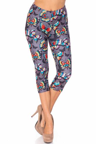 Creamy Soft Jewel Tone Butterfly Extra Plus Size Capris - 3X-5X - USA Fashion™