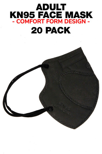 Black 20 Pack - KN95 Face Mask - Comfort Fit - Individually Sealed