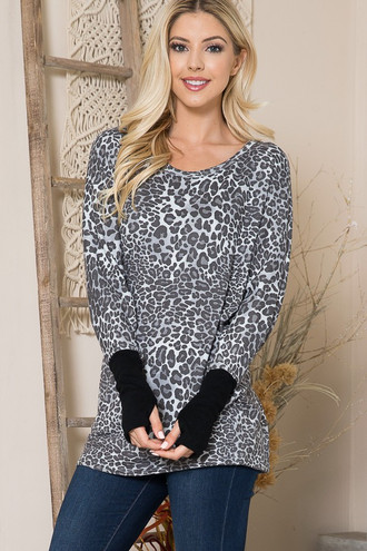 Oversized Leopard Contrast Cuff Long Sleeve Top with Thumbholes
