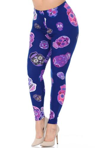 Buttery Soft Violet Sugar Skulls Plus Size Leggings