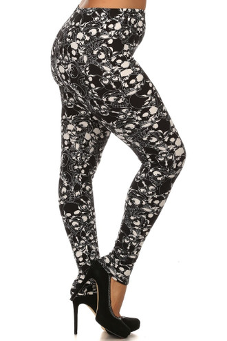 Buttery Soft Black Layers of Skulls Plus Size Leggings
