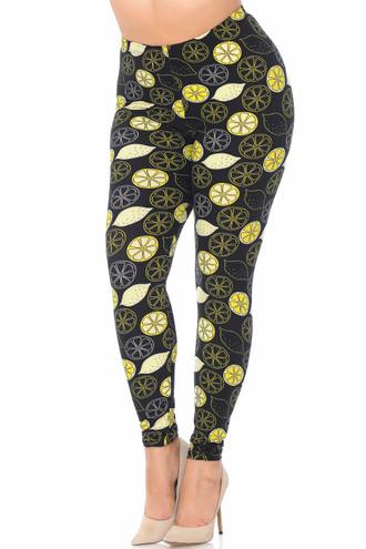 Wholesale Buttery Soft Juicy Summer Lemons Plus Size Leggings