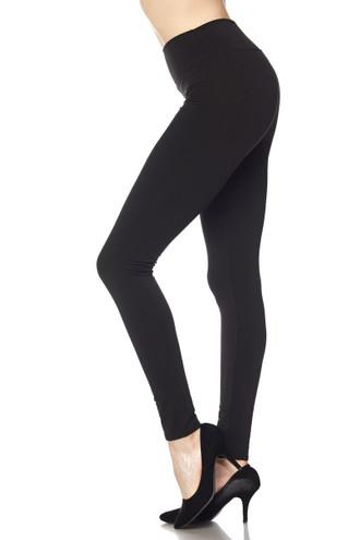 Wholesale High Waisted Fleece Lined Plus Size Leggings - 3 Inch Waistband