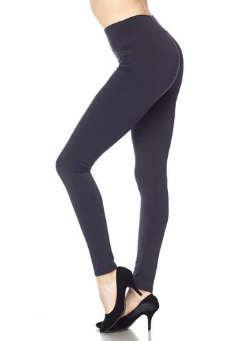 Wholesale High Waisted Fleece Lined Plus Size Leggings - 5 Inch Waistband