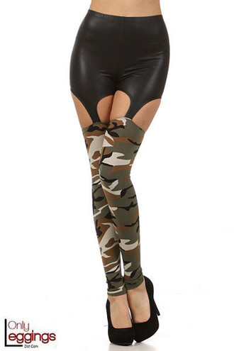 Camouflage Garter Faux Leather Leggings
