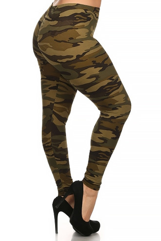 Green Camouflage Plus Size Leggings