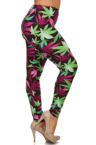 Fuchsia Marijuana Leaf Leggings - Plus Size