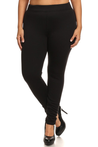 Solid Black Fur Lined Leggings - Plus Size
