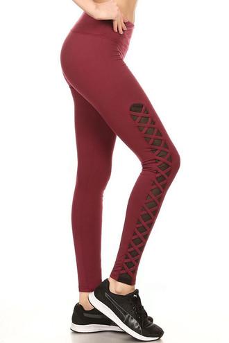 Side image of Burgundy Criss Cross Mesh Women's Sport Leggings