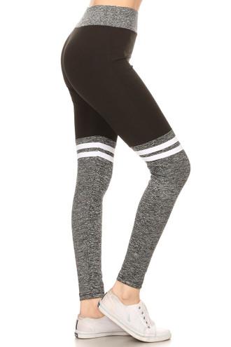 Black Charcoal Split Women's Workout Leggings