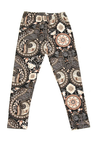 Wholesale Buttery Soft Chestnut Paisley Kids Leggings