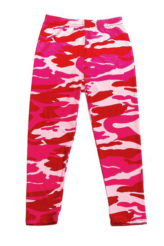 Wholesale Buttery Soft Pink Camouflage Kids Leggings