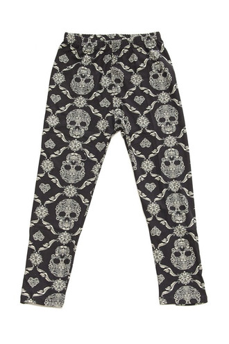 Wholesale Buttery Soft Skull Mandala Kids Leggings