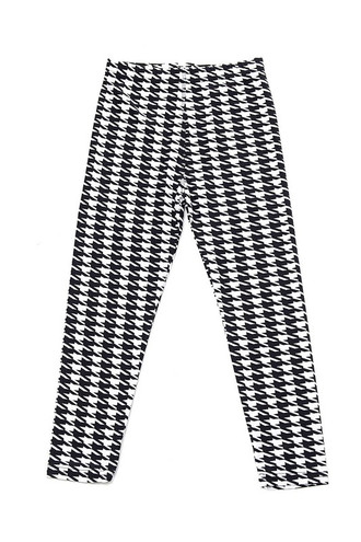 Wholesale Buttery Soft Black and White Houndstooth Kids Leggings