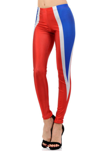 Red and Blue Contour Leggings