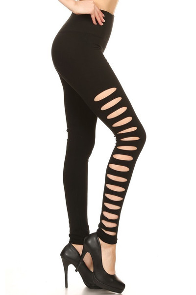 Premium Side Slashed Black Leggings