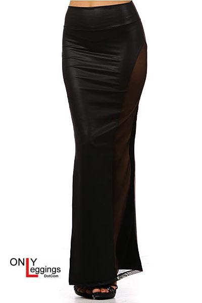 Leather Mesh Maxi Skirt