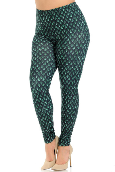 Creamy Soft Green Dragon Scale Plus Size Leggings - Signature Collection