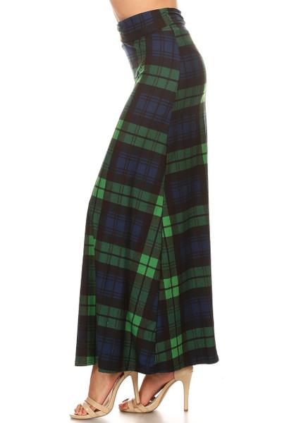 Brushed Green Plaid Maxi Skirt