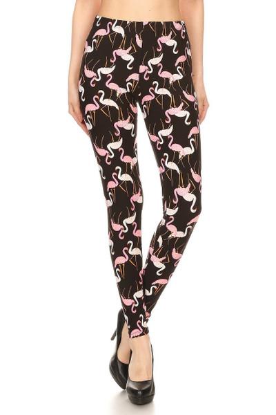 Brushed Pink and White Flamingo Leggings