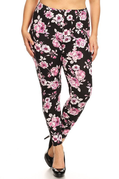 Brushed Decadent Pink Floral Plus Size Leggings