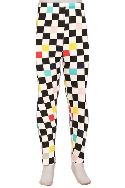 Brushed Color Accent Checkered Kids Leggings