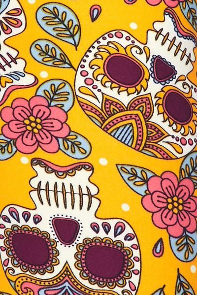 Soft Brushed Mustard Summer Sugar Skull Capris