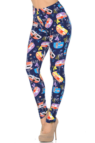 Soft Brushed Retro Campers Leggings - XSmall