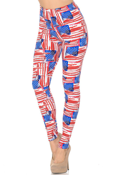 Soft Brushed Watercolor USA Flag Plus Size Leggings