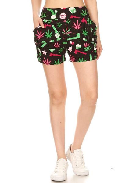 Soft Brushed Marijuana Esprit Harem Shorts