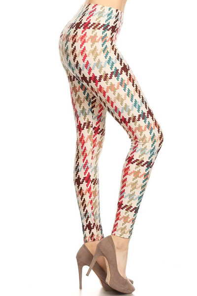 Buttery Soft Earth Tone Pixel Zags Extra Plus Size Leggings - 3X-5X