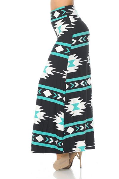 Brushed Mint on Black Aztec Tribal Maxi Skirt
