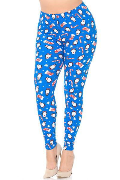 Brushed Icy Blue Christmas Penguins Extra Plus Size Leggings - 3X-5X