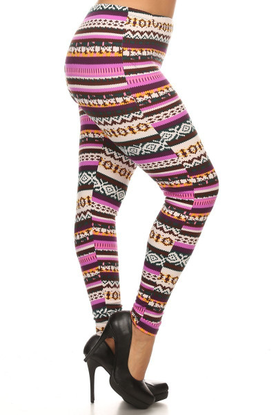 Fleece Lined Plus Size Pink Garland Leggings