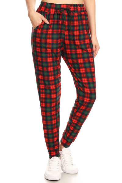 Brushed  Traditional Red Plaid Joggers