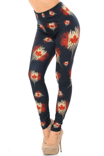 Creamy Soft Canadian Flag Fireworks Plus Size Leggings - USA Fashion™