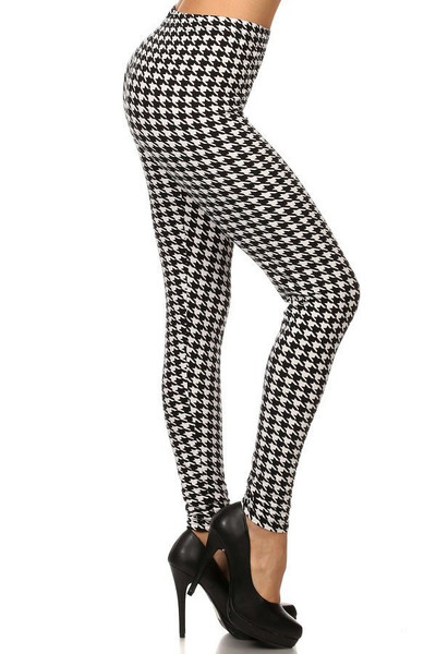 Brushed Black and White Houndstooth Leggings